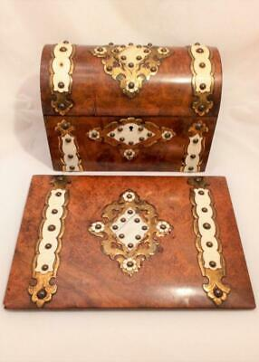 Burr Walnut Brass Mounted Stationery Box Matching Blotter Antique Mid 19th C