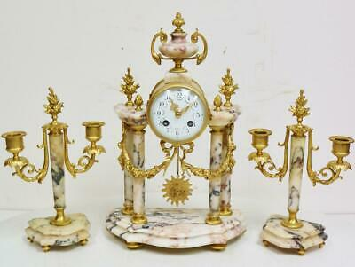 Antique French 8Day Bronze & 4 Pillar Marble Portico Mantel Clock Candelabra Set
