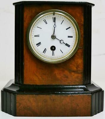 Small Antique French 19th Century 8 Day Walnut & Ebonised Timepiece Mantel Clock