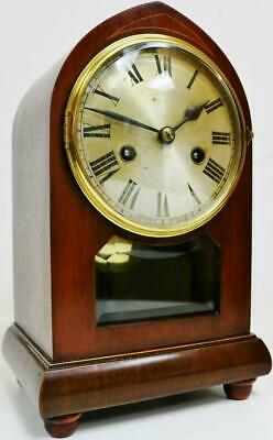 Antique German 8 Day Mahogany & Glass Lancet Top Gong Striking mantel Clock
