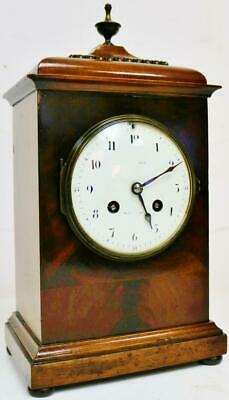 Small Antique 19thC French 8 Day Gong Striking Mahogany Bell Top Bracket Clock
