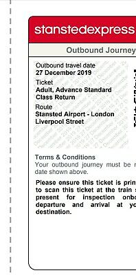 Stansted Express Ticket Stansted to London Liverpool Street valid 27th December