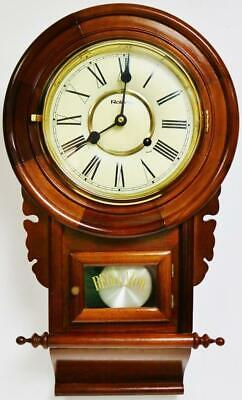 Beautiful Small Vintage German 8 Day Gong Striking Mahogany Drop Dial Wall Clock