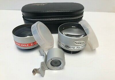 Kaligar Lenses (Wide Angle,Telephoto) & Viewfinder & Case for Kodak Instamatic