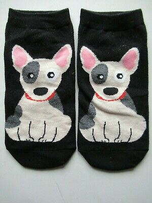 NEW Ladies Girls (1 Pair) English Bull Terrier Dog Black Ankle / Trainer Socks