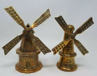 Two Antique Solid  Heavy Brass Ornamental Dutch Windmills x 27.5 & 25 cms Tall