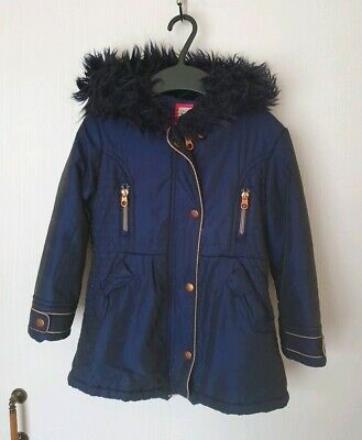 Ted Baker Girls Navy Fur Coat Size Age 5