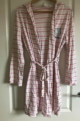 H&M exclusive Limited Edition Hello Kitty stripe white & pink dressing robe gown