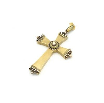 Antique Large Victorian 14K Tri-Colored Gold Ornate Cross Pendant #739B-1