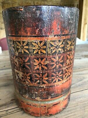 A Lovely Antique Indian Mortar with Great Painting and Patina