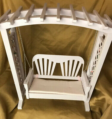 "American Girl Swing 18"" Doll Blaire's Garden Trellis White W/pink Flower Retired"