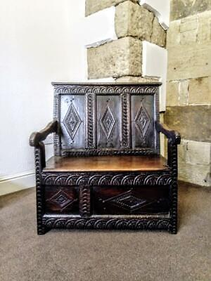 A Small Early 18th Century & Later Carved Oak Box Settle