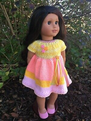 Fits American Girl Dolls Easter Spring Pink Yellow Flower Dress (No Doll/Shoes)