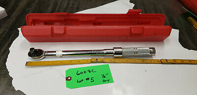 "Proto  6008C 1/2"" Drive Torque Wrench w/Case 16-80 ft.lb Range lot#5  green 9shf"