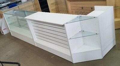 Cheap beautiful 4 piece BRAND NEW White counter set up for retail shop