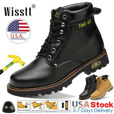Men's Steel Toe Work Shoes Waterproof Leather Outdoor Martin Boots Ankle Shoes