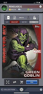Topps Marvel Collect Digital July Reserve Sinister Six Green Goblin Red