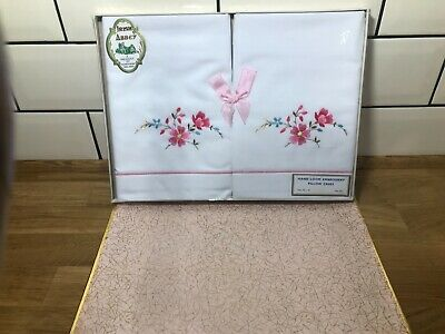 Vintage Irish Abbey Cotton Embroidered Pillowcases - Set of 2 - Boxed
