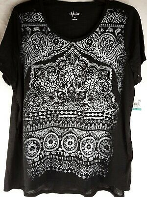 New Style & Co Womens Size OX Top Black Graphic Shirt Ladies Plus     #24