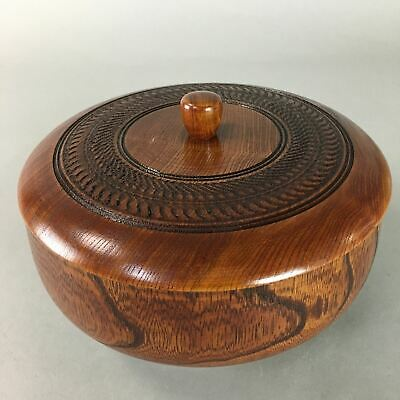 Japanese Wooden Lacquer Lidded Snack Bowl Vtg Kashiki Grain Tea Ceremony UR213