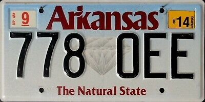 """USA Number Licence Plate ARKANSAS  THE NATURAL STATE  """"DIAMOND"""""""