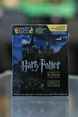 Harry Potter Complete 8 Film Collection Blu Ray+ 4 Hogwarts Iron On Patches- New