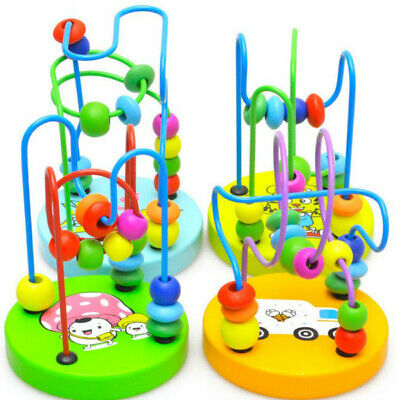 Boys Girls Baby Wooden Around Beads Interactive Toy Early Educational Toys Gifts