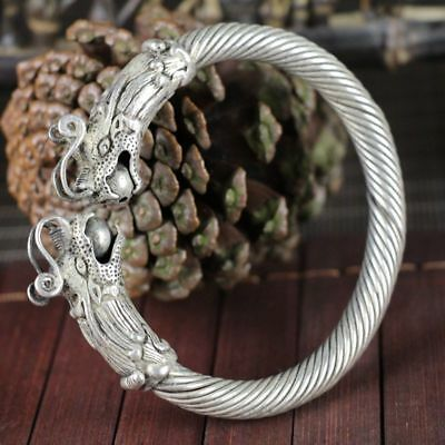 China old silver copper headed Double dragon Opera Ball Silver Bracelet