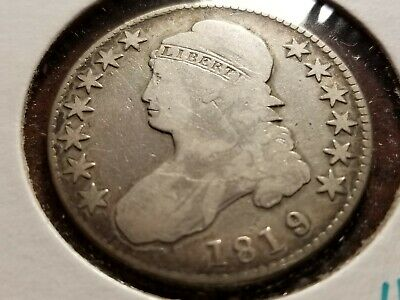 1819 Capped Bust Silver Half Dollar, full date, full liberty     INV10    H1013