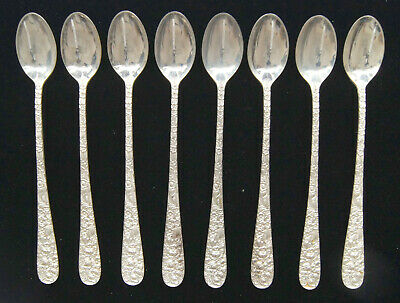 """Lot of 8 Stieff ROSE Sterling Silver Iced Tea Spoon 7.5"""" NO MONOGRAMS - B0869"""