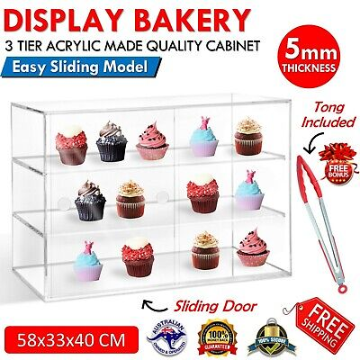 3TIER Cake Display Cabinet Acrylic Bakery Muffin Cupcake Donut Pastries Sliding