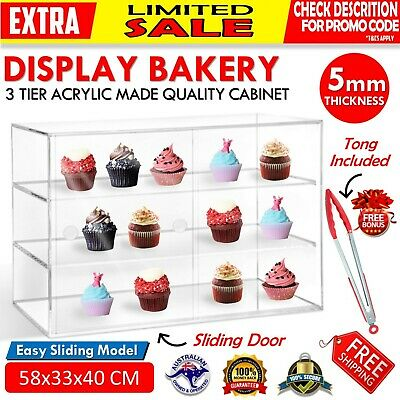 Large Acrylic Cake Display Cabinet Bakery Muffin Cupcake Donuts Pastries 3 TIER