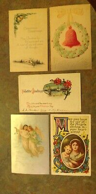 Lot Of 5 Early 1900s Vintage Christmas Postcards