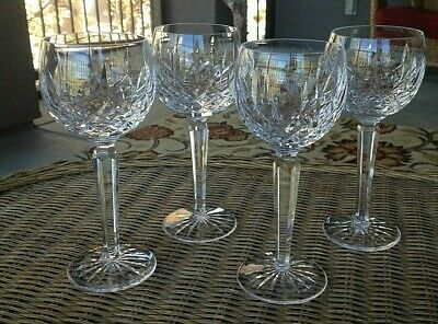 "4 Lot Waterford Crystal Lismore Wine Hocks Glasses 7 1/2"" Mint"