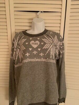 PINK by Victoria Secret  Winter Wonderland Snowflake Sweater  SIZE S