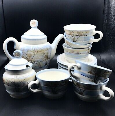 Russian tea set for 6 person Huge Kettle 17 pieces set 1998 year handmade