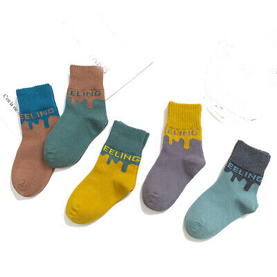 5 Pairs Baby Boy Girl Winter Thick Warm Casual Breathable Middle Tube Socks