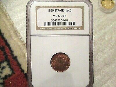 Straits Settlements 1/4 Cent -  Ngc Ms63 Rb
