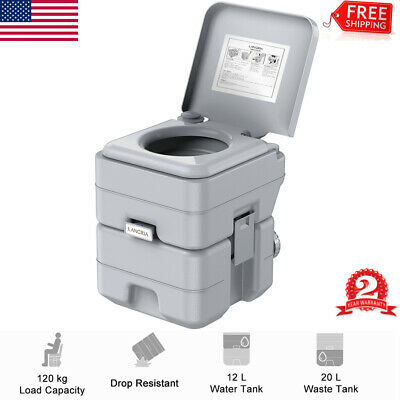 5.3 Gallon 20L Portable Toilet Flush Travel Camping Outdoor Potty Commode Gray