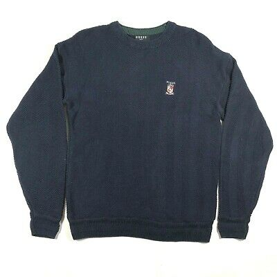 Guess Golf Mens M Cotton Navy Blue Chevron Ribbed Crew Neck Pullover Sweater