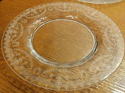 8 Fostoria Orient Etch #265 Crystal Luncheon Plates 8.25 Antique Needle Etched