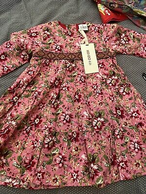 Brand New With Tags - Baby Girls Pink Kenzo Long Sleeve Flower Dress - Size 3