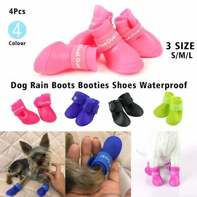 4X Dog Boots Candy Color Waterproof Rubber Pet Cat Anti-slip Rain Shoes Booties