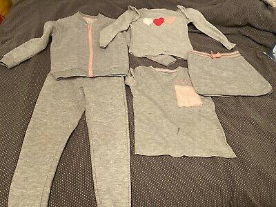 Girls Grey & Pink 5 Piece Outfit Set - Tshirt Top Bottoms Skirt - Age 4-5 Years