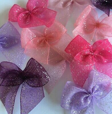GlitterRibbonBows Bundle Cardmaking/Scrapbooking Pinks/Purples Lot3 BUY2GET1FREE