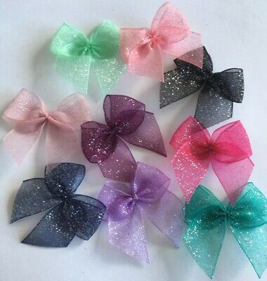 Glitter Ribbon Bows Cardmaking/Scrapbooking Multi-Colour Job Lot 13 BUY2GET1FREE