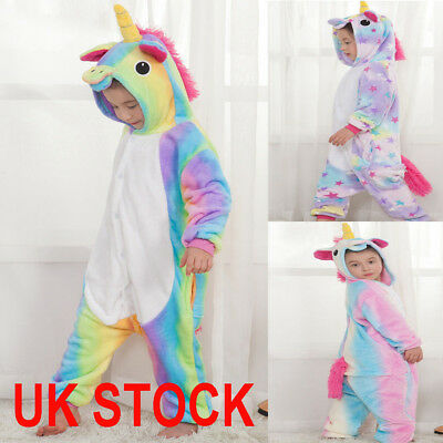 Hot Kids Rainbow Unicorn Kigurumi Pajamas Cosplay Animal Onesie11 Sleepwear Xmas