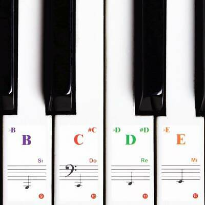 Transparent Music Piano Learner Stickers Note Key board 88/61/54/49/37/32Key''