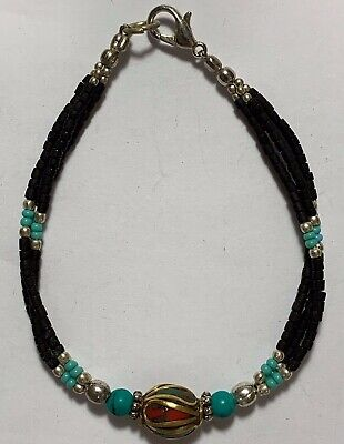Late Medieval Bracelet Silver - Turquoise Stones, 1 Bead Gold Plated - Rare