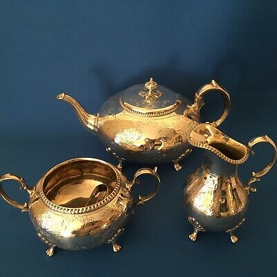 Victorian Silver plated three piece tea service with plated tongs